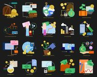 Business theme elements collection, flat icons set. Colorful symbols pack contains - Currencies Dollar, Euro, Yen, Bitcoin. Vector illustration. Flat style Royalty Free Stock Image