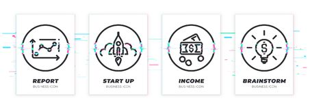 Glitched chart, startup, money, idea icons set. Business theme glitched black icons set. Scalable vector objects on transparent background. Modern distorted vector illustration