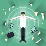 Business theme illustration. Young businessman feels power inside. Royalty Free Stock Photography