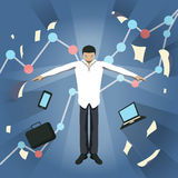 Business theme illustration. Young businessman feels power inside. Stock Images