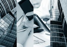 Business theme photo collage composed of few images. stock photos
