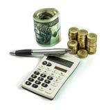 Business theme - Polish money coins, calculator and pen Stock Photos