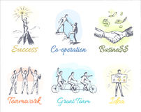 Business-Themed Sketches of Profitable Cooperation Royalty Free Stock Photography