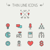 Business thin line icon set Stock Photo