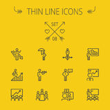 Business thin line icon set Stock Photos