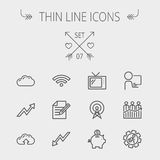 Business thin line icon. Set for web and mobile. Set includes- wifi, notepad, cloud arrows, antenna, money, gear icons. Modern minimalistic flat design. Vector Royalty Free Stock Photos