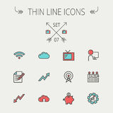 Business thin line icon. Set for web and mobile. Set includes- wifi, notepad, cloud arrows, antenna, money, gear icons. Modern minimalistic flat design. Vector Stock Image
