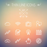 Business thin line icon. Set for web and mobile. Set includes- wifi, notepad, cloud arrows, antenna, money, gear icons. Modern minimalistic flat design. Vector Stock Photography