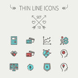 Business thin line icons Royalty Free Stock Photography