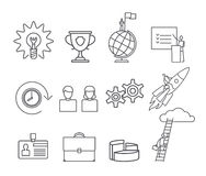 Business thin line icons set. Business thin black line icons set on white background. Vector illustration Stock Photography