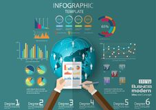 Business Think analyze work globally for modern Idea and Concept Vector illustration Infographic template with hand,Pen,paper,grap. Vector business Think analyze stock illustration