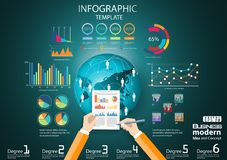 Business Think analyze work globally for modern Idea and Concept Vector illustration Infographic template with hand,Pen,paper,grap. Vector business Think analyze vector illustration