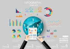 Business Think analyze work globally for modern Idea and Concept Vector illustration Infographic template with hand,Pen,paper,grap. Vector business Think analyze royalty free illustration