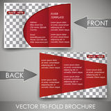 Business three fold flyer template, cover design or corporate brochure Stock Images