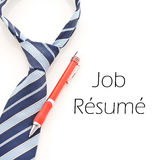 Business Tie And Pen. With Job Resume Caption stock image