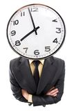 Business time. Distorted image of a businessman with clock instead of head Stock Photography
