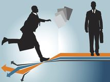 Business time. One businessman running towards to another, business files and finance chart background Royalty Free Stock Image