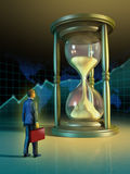 Business time. Businessman looking at a giant hourglass. Digital illustration Stock Photography