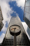 Business time. Watch on column surrounded by skyscrapers in London Royalty Free Stock Photo