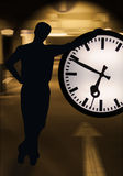 Business Time. Person with clock in action Royalty Free Stock Photos