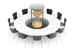 Business Time Concept. Chairs around a Table with Sand Clock in. The middle on a white background. 3d Rendering Stock Photo