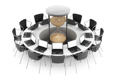 Business Time Concept. Chairs around a Table with Sand Clock in. The middle on a white background. 3d Rendering Stock Image