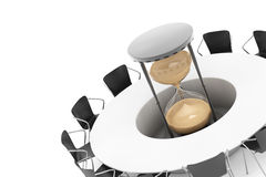 Business Time Concept. Chairs around a Table with Sand Clock in. The middle on a white background. 3d Rendering Royalty Free Stock Photos