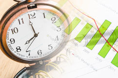 Business time concept. Business time concept with clock and graph documents Royalty Free Stock Image