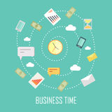 Business Time Concept. Vector illustration with wall clock and devices for communication on blue background. Internet marketing. World time concept. Business Royalty Free Stock Photo