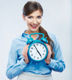 Business time concept woman portrait. Young business model show Stock Images
