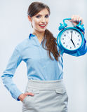 Business time concept woman portrait. Young business model show Stock Photography