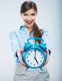 Business time concept woman portrait. Young busine Royalty Free Stock Images