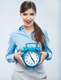 Business time concept woman portrait. Young business model show Royalty Free Stock Image