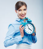 Business time concept woman portrait. Young business model show Royalty Free Stock Images