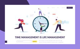 Business Time Management Concept Landing Page. Characters Organization Timetable Optimization Template for Website vector illustration