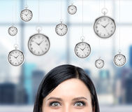 Business and time, pocket watch. Woman thinking about time, half face seen, several models of pocket watches hovering in the air. A concept of a value of time in Stock Images