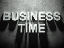 Business time text with shadow, business word Stock Photos