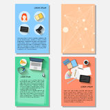 Business time theme collection. Business time theme. Bright backgrounds collection with everyday life electronic objects in trendy flat style with long shadow Stock Image