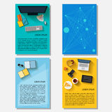 Business time theme collection. Business time theme. Bright backgrounds collection with everyday life electronic objects in trendy flat style with long shadow Royalty Free Stock Images