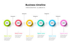 Business timeline in step circles infographics. Corporate milest. Ones graphic elements. Company presentation slide template with year periods. Modern vector Stock Photo