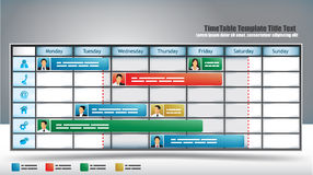 Business Timetable. Business themed planner template with avatars and sliders Royalty Free Stock Image
