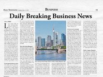 Business title page of a fictional newspaper. Fictitious business front page of a newspaper and daily newspaper as a template and texture royalty free stock images