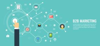 Business to business, b2b, rete, comunicazione, concetto commercializzante Insegna piana di vettore di vendita di progettazione Immagini Stock