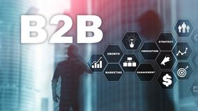 Business to business B2B - Technology future. Business model. Financial technology and communication concept. Business to business B2B - Technology future stock photo