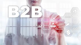 Business to business B2B - Technology future. Business model. Financial technology and communication concept. stock image