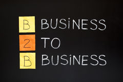 Business To Business concept. B2B acronym - BUSINESS TO BUSINESS. Concept made with sticky notes and white chalk on a blackboard Stock Photography