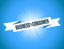 Business to consumer ribbon sign illustration design graphic. Over a blue background Stock Photo
