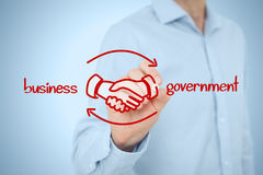Business to government B2G. Business to government (B2G) concept - business model. Businessman (lobbyist) draw scheme with handshake partnership agreement Royalty Free Stock Image