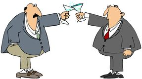 Business toast. This illustration depicts two businessmen making a toast with martini glasses Stock Photos