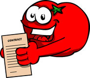 Business tomato holding contract Royalty Free Stock Photos